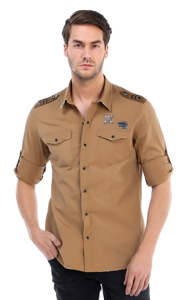 RON TOMSON - Chest Pocket Button Down Patch Shirt - Camel - RNT23 - 1