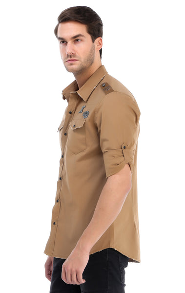 RON TOMSON - Chest Pocket Button Down Patch Shirt - Camel - RNT23 - 2