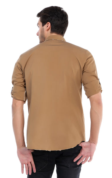 RON TOMSON - Chest Pocket Button Down Patch Shirt - Camel - RNT23 - 3