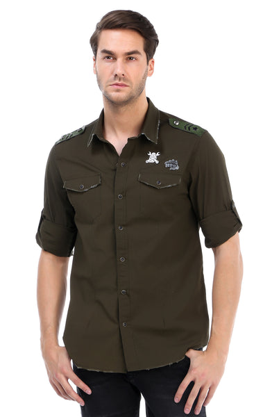 RON TOMSON - Chest Pocket Button Down Patch Shirt - Green - RNT23 - 1