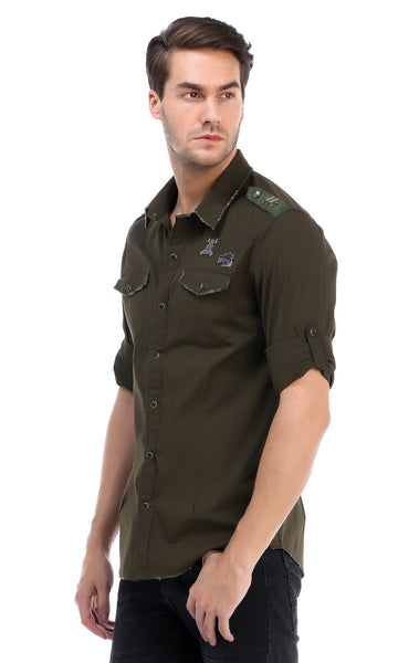 RON TOMSON - Chest Pocket Button Down Patch Shirt - Green - RNT23 - 2