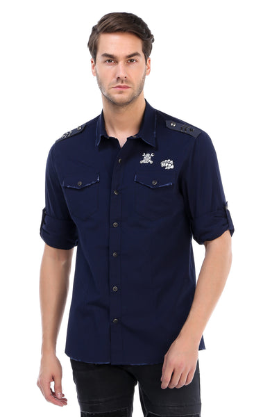 RON TOMSON - Chest Pocket Button Down Patch Shirt - Navy - RNT23 - 1