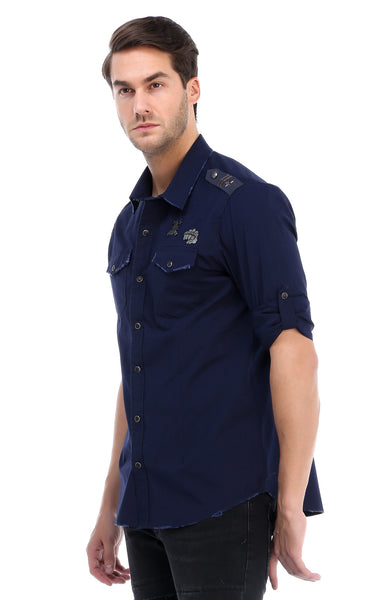 RON TOMSON - Chest Pocket Button Down Patch Shirt - Navy - RNT23 - 2