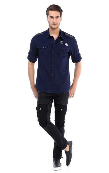 RON TOMSON - Chest Pocket Button Down Patch Shirt - Navy - RNT23 - 4