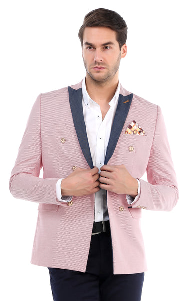 Contrast Lapel Double Breasted Blazer