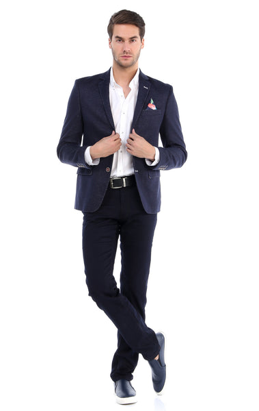 RON TOMSON - Contrast Stitch Fitted Blazer - Navy - RNT23 - 4