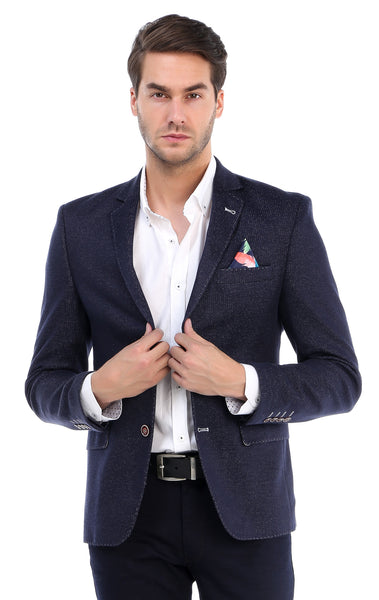 RON TOMSON - Contrast Stitch Fitted Blazer - Navy - RNT23 - 1