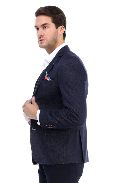 RON TOMSON - Contrast Stitch Fitted Blazer - Navy - RNT23 - 2