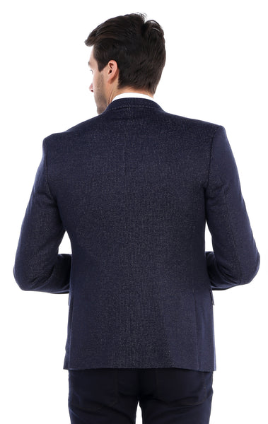 RON TOMSON - Contrast Stitch Fitted Blazer - Navy - RNT23 - 3