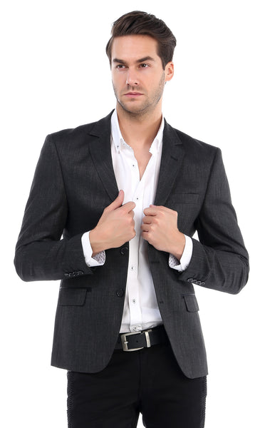 RON TOMSON - Flap Pocket Two Button Notch Lapel Jacket - Black - RNT23 - 1