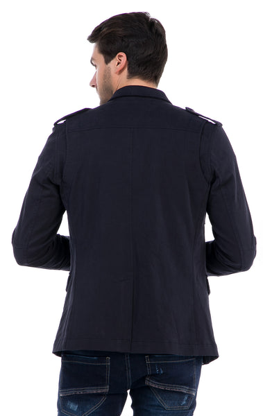 RON TOMSON - Zip And Button Single Vent Jacket - Navy - RNT23 - 3