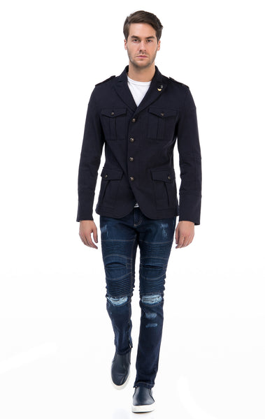 RON TOMSON - Zip And Button Single Vent Jacket - Navy - RNT23 - 4
