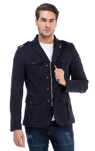 RON TOMSON - Zip And Button Single Vent Jacket - Navy - RNT23 - 1