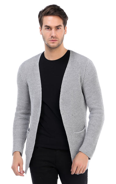 RON TOMSON - Lightweight Patch pocket Cardigan - Grey - RNT23 - 1