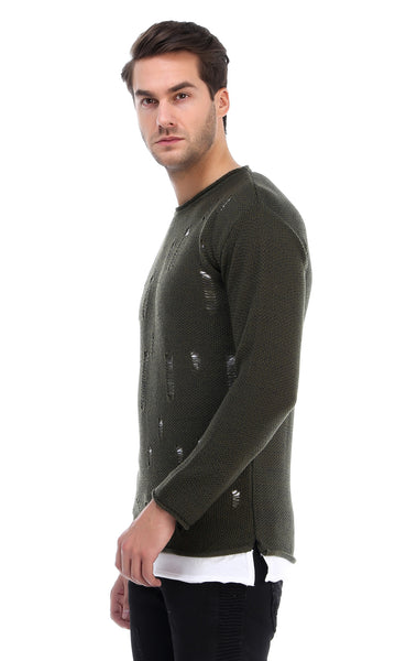 RON TOMSON - Ripped Sweater - Green - RNT23 - 2