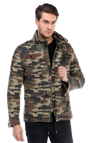 RON TOMSON - Hidden Closure Chest Pocket Military Jacket - Light Camouflage - RNT23 - 1