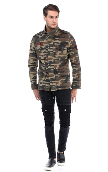 RON TOMSON - Hidden Closure Chest Pocket Military Jacket - Light Camouflage - RNT23 - 5