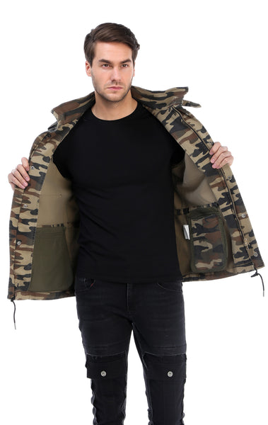 RON TOMSON - Hidden Closure Chest Pocket Military Jacket - Light Camouflage - RNT23 - 3