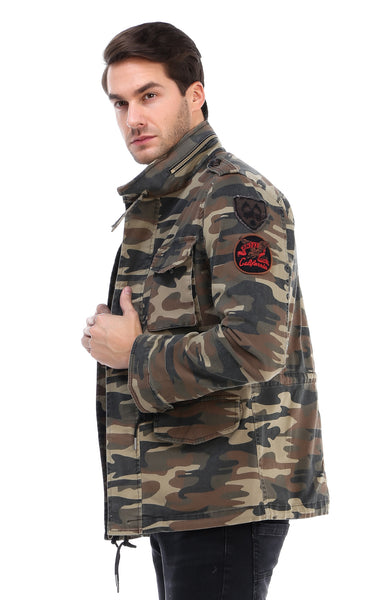 RON TOMSON - Hidden Closure Chest Pocket Military Jacket - Light Camouflage - RNT23 - 2