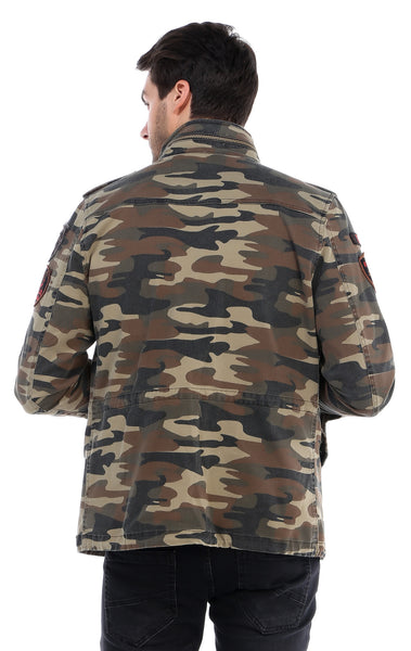 RON TOMSON - Hidden Closure Chest Pocket Military Jacket - Light Camouflage - RNT23 - 4