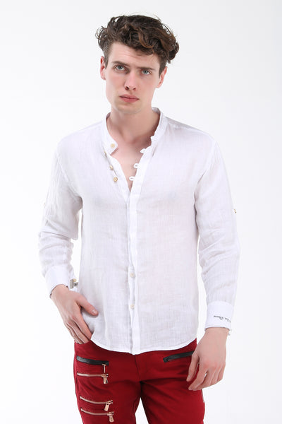 Hidden Placket Linen Shirt - White