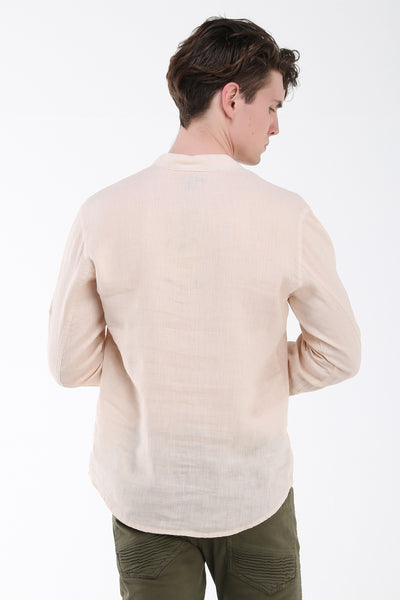 Washed Henley Linen Shirt - Stone