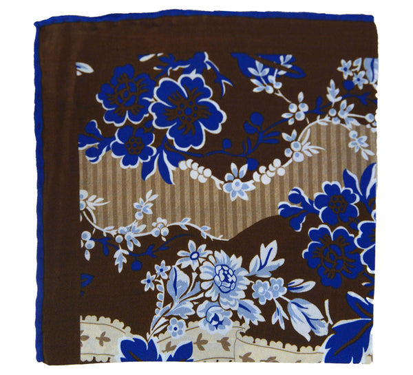 Graphic Floral Silk Pocket Square