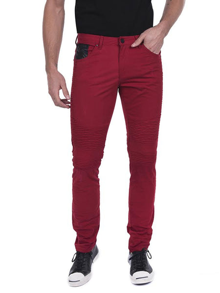 Side Quilted Skinny Washed Moto Jeans  - Red