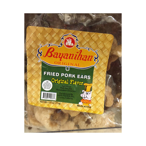 Bayanihan Fried Pork Ears (Original Flavor)  Fried Pork Ears Original Flavor Net Weight: 2.5 oz / 71 g
