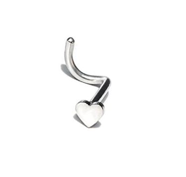 Cocorina 5 pack of 18G Silver Surgical Steel Twist Nose Studs - Star, Heart, Spike, Ball & CZ Stud