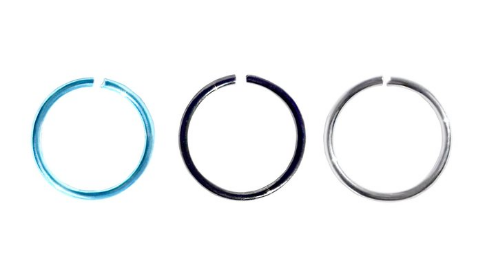 Cocorina 9 piece set of Hoop Rings, Ball Nose Studs & CZ Studs - Black, Teal & Silver