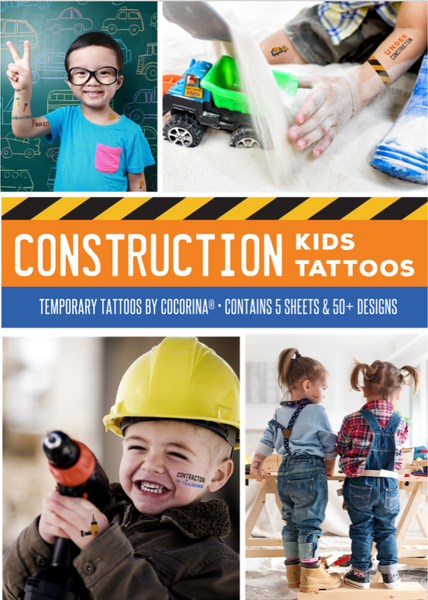 Construction Birthday Party Tattoos Kid's Construction Themed Party Supplies / Favors