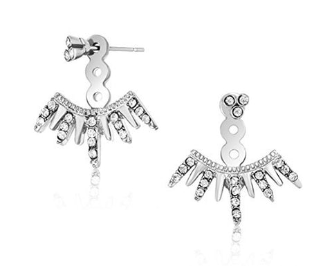 Stunning Silver Spiked Ear Jacket Sparkle Earrings w/ Gift Box & Earring Card