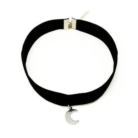 "Choker Necklace With Moon Pendant Charm - Elegant 3/8"" Black Velvet Choker by Cocorina"
