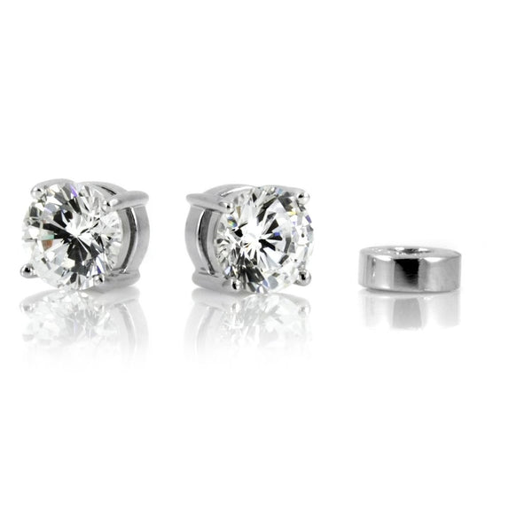 Cubic Zirconia Round Cut Magnetic Earrings 7mm - Unisex by Cocorina