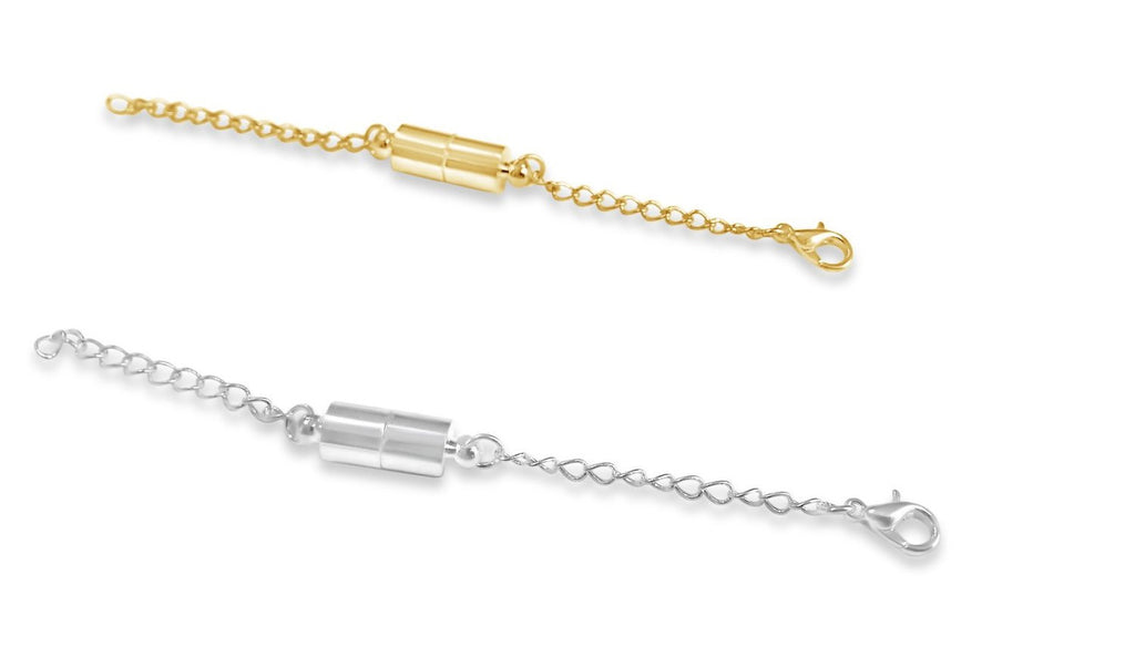 "Necklace Extenders Pack of 2 Gold & Silver 4"" Magnetic Jewelry Extenders for bracelets & necklaces"