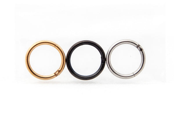 "Septum Nose Rings in Black, Gold & Silver (3 Pack) - 16 gauge - 5/16"" (8mm) in Stainless Steel by Cocorina"
