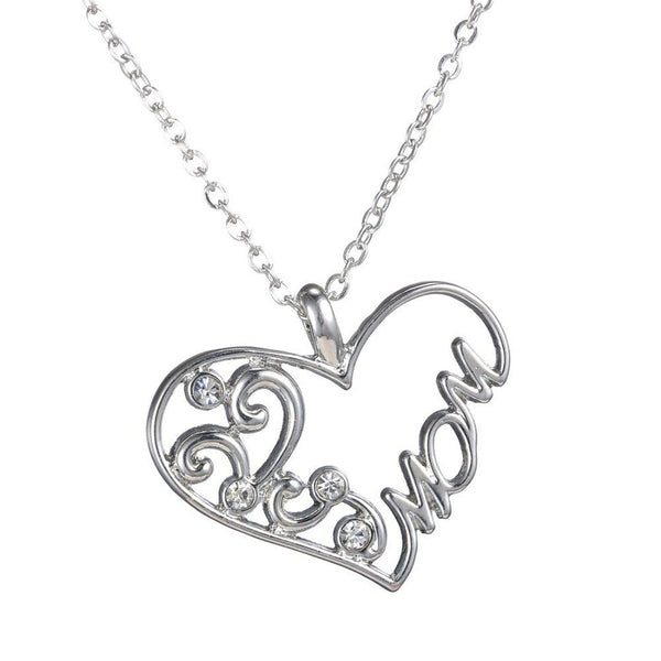 Mom Necklace Heart Shaped Charm Pendant by Cocorina - Gift for Mother's w/ Gift Box & Chain Necklace