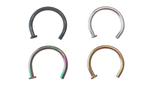 Cocorina 4 pack - 20 Gauge Nose Ring Hoops 8mm 5/16 in Black, Gold, Silver & Rainbow