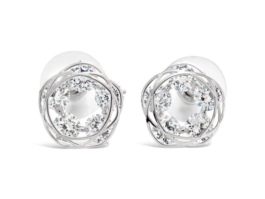 Sparkling Circle Wire Earring Studs Round CZ - Beautiful Everyday Look by Cocorina