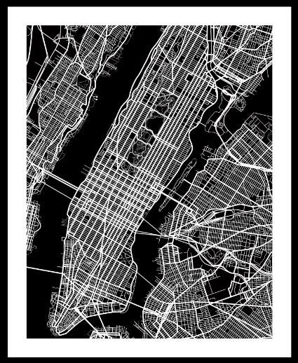 Manhattan, NY City Print Map Art by Map Wall Art