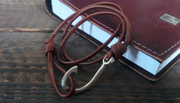Cocorina Men's Leather Bracelet - Nautical Inspired Fish Hook Bracelet (Brown)