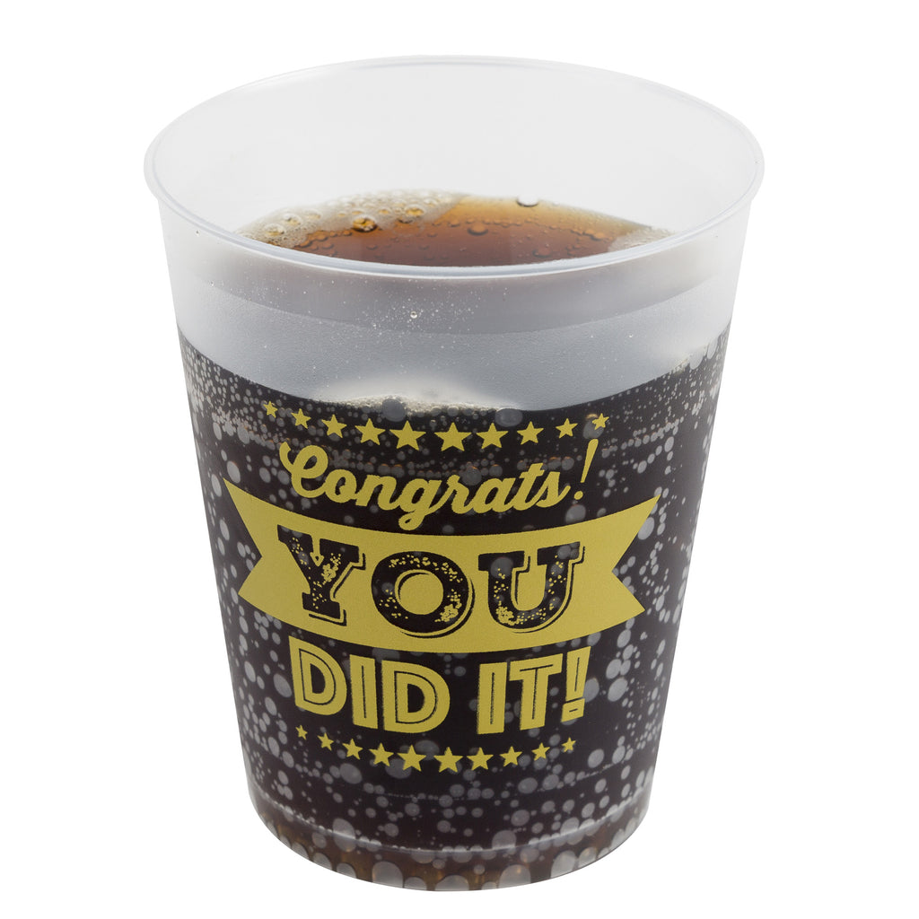 Graduation Party Cups - Set of 16 Cups that read 'Congrats, You Did it!' for Grad Parties
