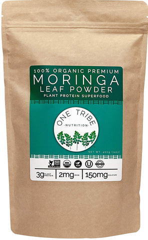 Premium Organic Moringa Powder - Vegan Plant Based Protein - 100% All Natural Raw Superfood Greens - Non-GMO (14 oz)