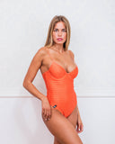 Orange Logomania One Piece Swimsuit