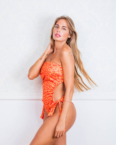 Orange Animal Print Cut Out One Piece Swimsuit PRE-ORDER