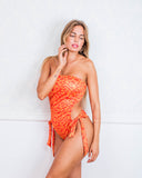 Orange Animal Print Cut Out One Piece Swimsuit