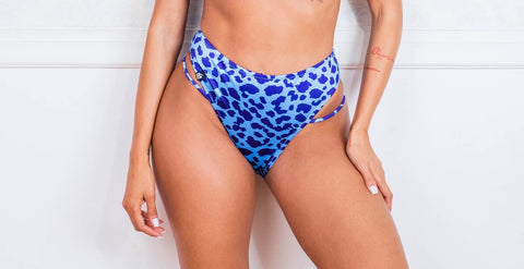 Blue Animal Print High Waist Bottom Bikini PRE-ORDER