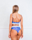 Cut out Blue Animal Print Bikini Swimsuit Lurex Brazilian