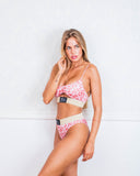Cut out Pink Animal Print Bikini Swimsuit Lurex Brazilian